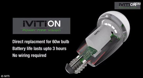iViTi On可区分停电和有人关掉电源开关,所以人们可根据需要将iViTi On关掉。它可安装到一个普通灯泡内,而且无需附件任何线路。它的发光亮度相当于一个普通的60瓦灯泡,但它仅需8瓦电力。照片展示了内部电池的剖面图。