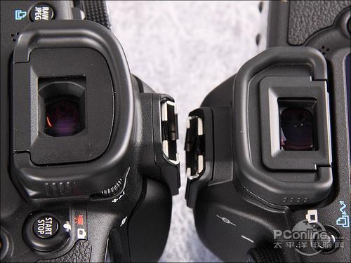 佳能7d(左)与5d mark ii(右)取景器目镜和眼罩对比