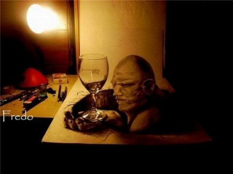 智利青年用铅笔做3D图画:栩栩如生难辨真假(图)