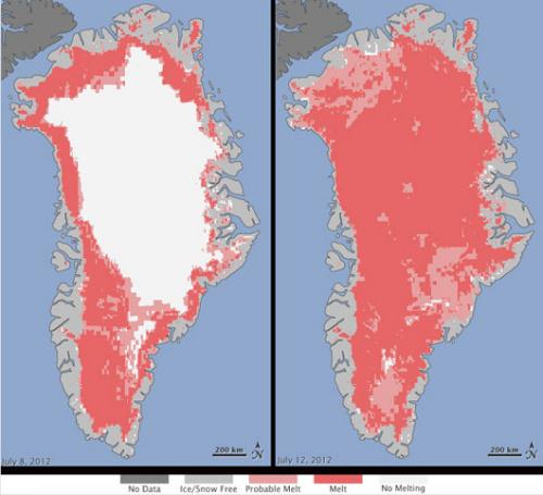 格陵兰97%冰盖表面现大范围融化迹象(图)