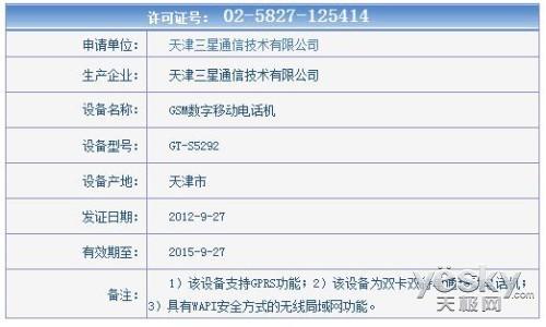 双卡双待时尚新品 三星S5292获入网许可