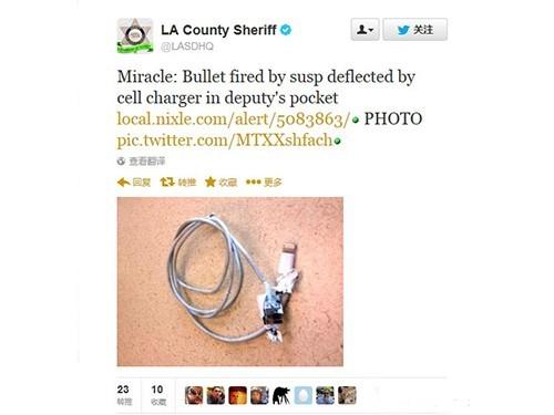 美国警察iPhone数据线挡住歹徒子弹获救