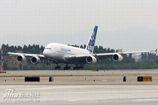 科技时代_A380抵达广州白云机场进行验证和展示飞行(图)