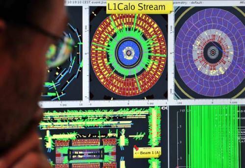 图文:电脑屏幕上显示的质子轨迹
