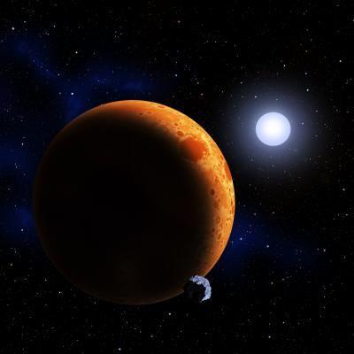 哈佛天体物理中心的天文学家最近发现了一对相互绕转的白矮星,绕转的周期仅为39分钟。预计它们将在数百万年后合并,成为一颗质量较大的恒星。 版权:CfA