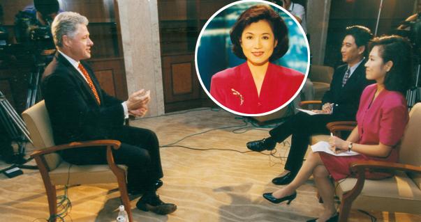 1998年7月,时任央视主持人的陈晓薇与搭档水均益在上海专访时任美国总统克林顿。