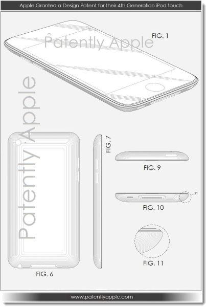 苹果获得第四代iPod Touch设计专利。