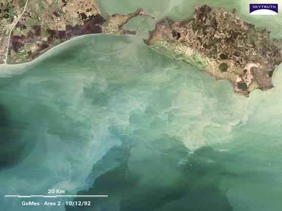 卫星拍到捕鱼船掀起27公里长海底沉积物(图)