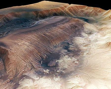 美科学家首次获取火星最深峡谷高清三维照(图)