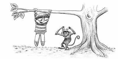 爬树猴子简笔画图片 步骤