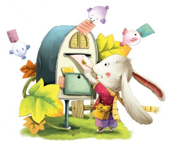 谭旭东   还有十来天就要过新年了,小白兔想给小鹿、小松鼠和小熊各寄一张贺卡,可它找遍了森林和草地,也没发现有哪家商店卖贺卡的。离它的蘑菇屋不远倒是有一家玩具店,那是大灰兔叔叔开的,里面有各种小汽车,还有毛绒娃娃和一些毛绒小动物,也有一些文具和餐具。   小白兔的妈妈大白兔看见小白兔一脸的不高兴,就问它:小乖乖,是什么让你不高兴啦?小白兔只好告诉妈妈,它很想给小鹿它们寄贺卡,可惜森林里买不到。   傻孩子,动动脑筋吧!难道你不会自己做吗?小白兔一听,高兴得蹦起来。它摸了摸脑袋,心想:怎么我就没想