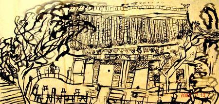 图为:《采风香山》水墨画 120×60(cm) 史家旗 7岁