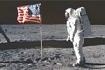 美国国旗插在月球上
