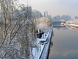 海淀:昆运河边观春雪