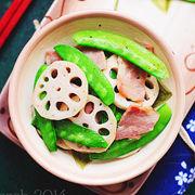 藕片培根炒豆荚