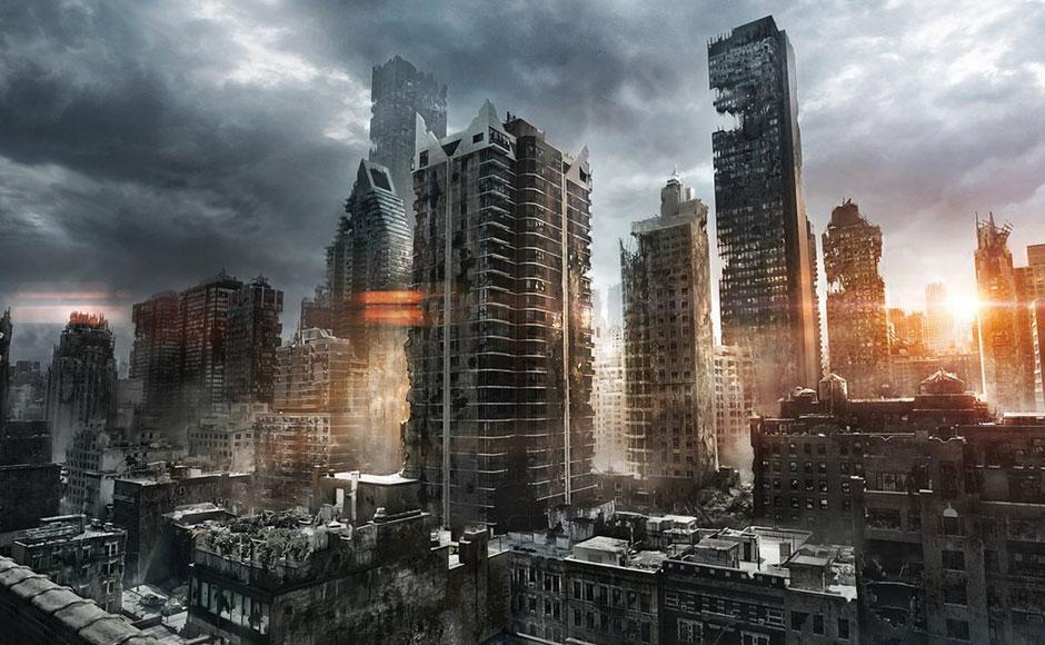 人类幻想城市变成废墟后的景象