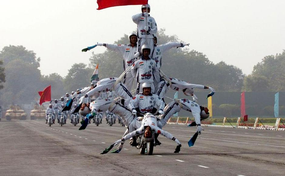 高清图:实拍印度阅兵式