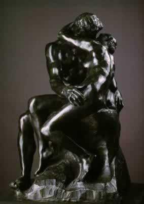 罗丹雕塑《吻》。