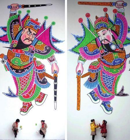最大手绘年画门神亮相。