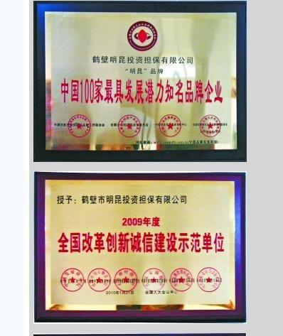 明昆担保公司的获奖证书(会议地址为全国人大会议中心)