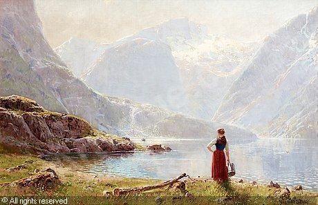汉斯达尔《年轻牧羊女和峡湾》