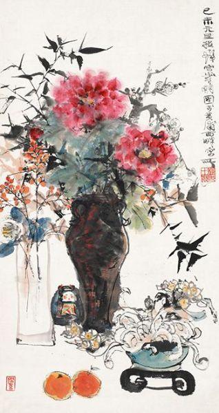 程十� 岁朝图 设色纸本 80年代购自上海友谊商店