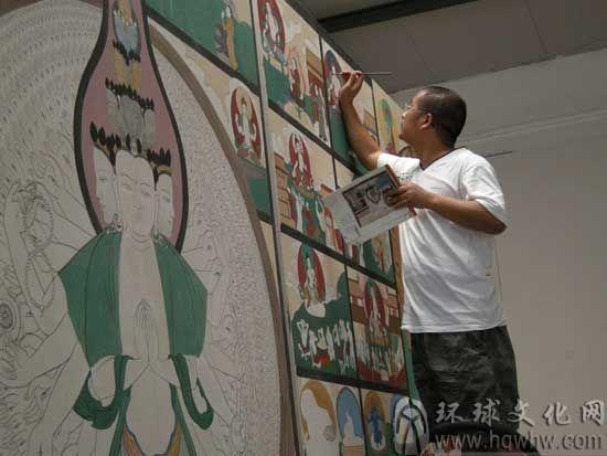 辩才天-法海寺壁画局部100X120cm