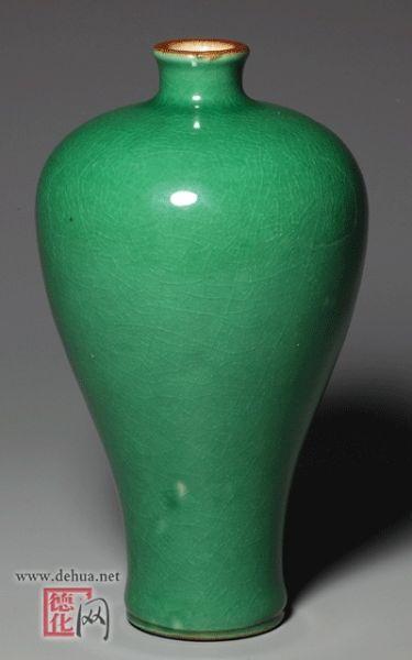 清康熙 苹果绿釉梅瓶