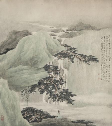 许信容 听瀑图 71×63cm 2014年