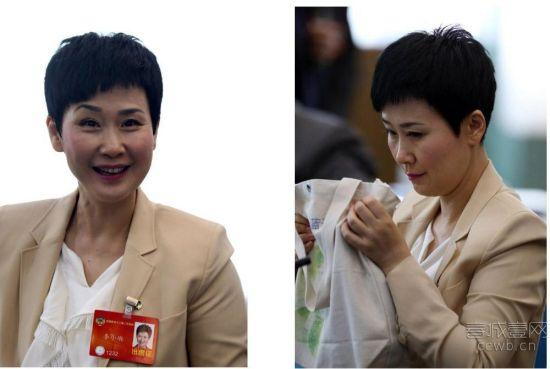 李小琳拿着环保袋参加两会讨论