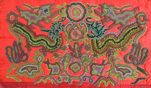 苗族皱绣蛇龙玩宝衣袖花片