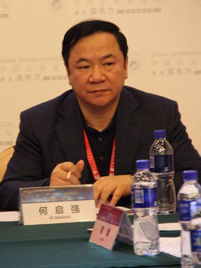图为:广东长青(集团)股份有限公司董事长何启强。(图片来源:新浪财经 骆霄 摄)