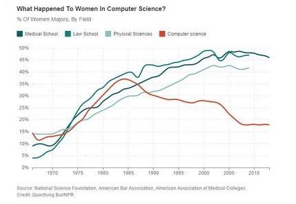 1965年以来,美国女性在一些传统男性占优的领域里获得专业学位的比率图 其中红色为计算机科学