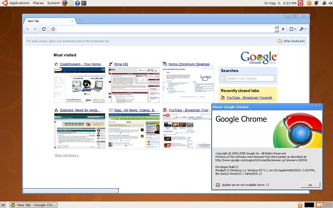 Chromium for Linux 16.0.905