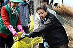 卢武铉和村民清理水中垃圾