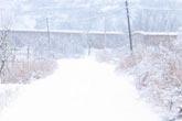 乡村小路淹没在雪花之中