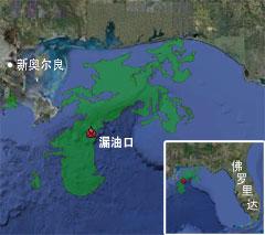 谷歌地图显示的漏油范围