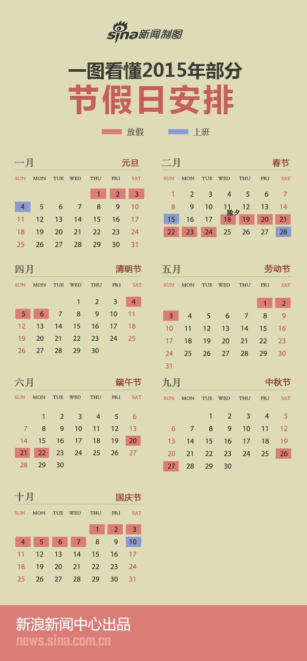 一图看懂2015年节假日安排