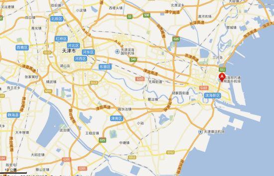 图中A所在位置,即为瑞海国际物流公司所在地。