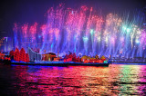 图文:亚运会焰火彩排再次上演