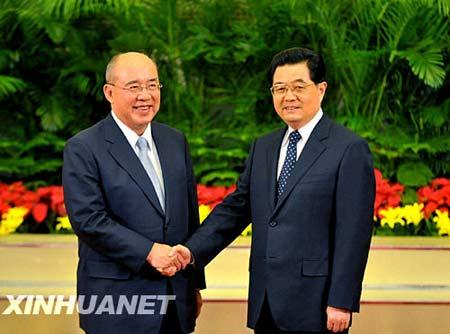 胡锦涛同国民党主席吴伯雄举行会谈