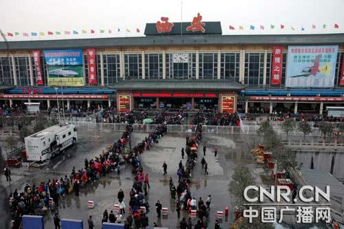 2月19日(农历正月初六)西安车站的旅客发送量