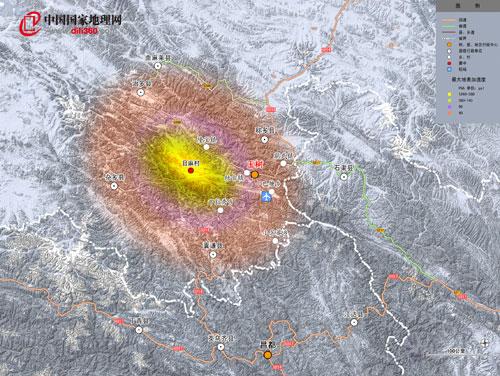 玉树地震最大地表加速度分布图发布(图)