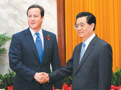 胡锦涛会见英首相卡梅伦就中英关系提三点意见