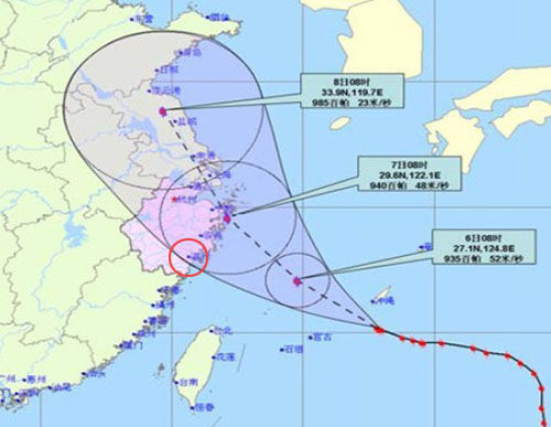 Wenzhou Meteorological Observatory predicted that the typhoon movements.