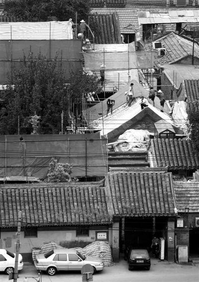 昨日15时许,史家胡同51号古建院落施工仍在进行。新京报记者 尹亚飞 摄