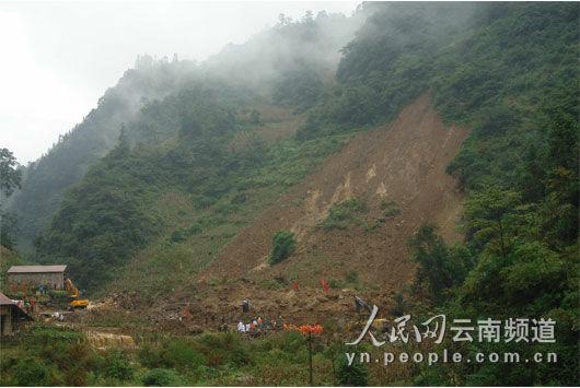 山体滑坡现场。图/彝良县委宣传部