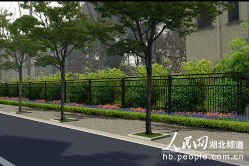具体为围墙改造为实体景观围墙