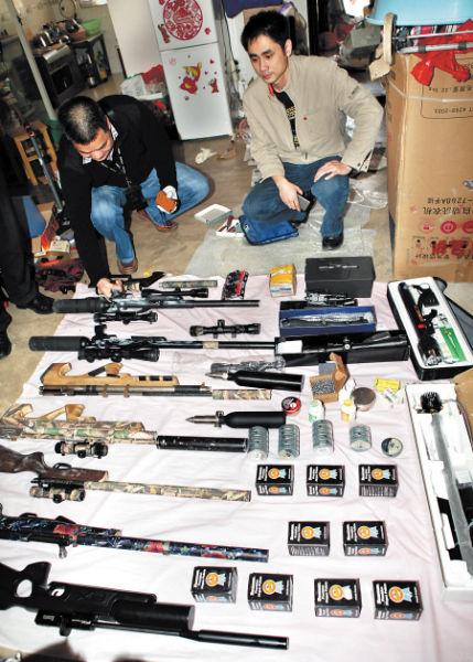 长沙跨洋图纸内惊现零件分拆铅弹由香港加工入境轴小型枪支邮包类图片