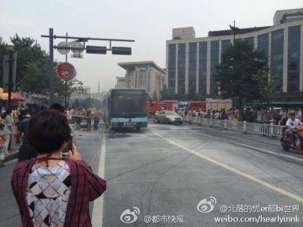 杭州公交纵火案事故现场